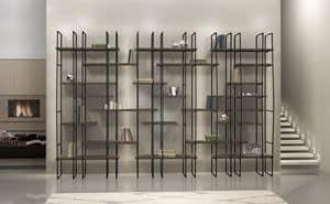 Infinity, Modular library in steel, laminate shelves