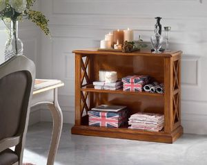 Inglese low bookcase, Low wooden bookcase