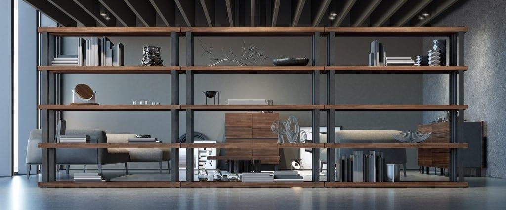 Ironwood bookcase Eucalipto, Modular bookcase, with Eucalyptus shelves
