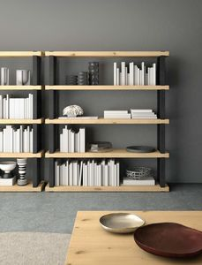 Ironwood bookcase Jupiter Oak, Modular bookcase with jupiter oak shelves