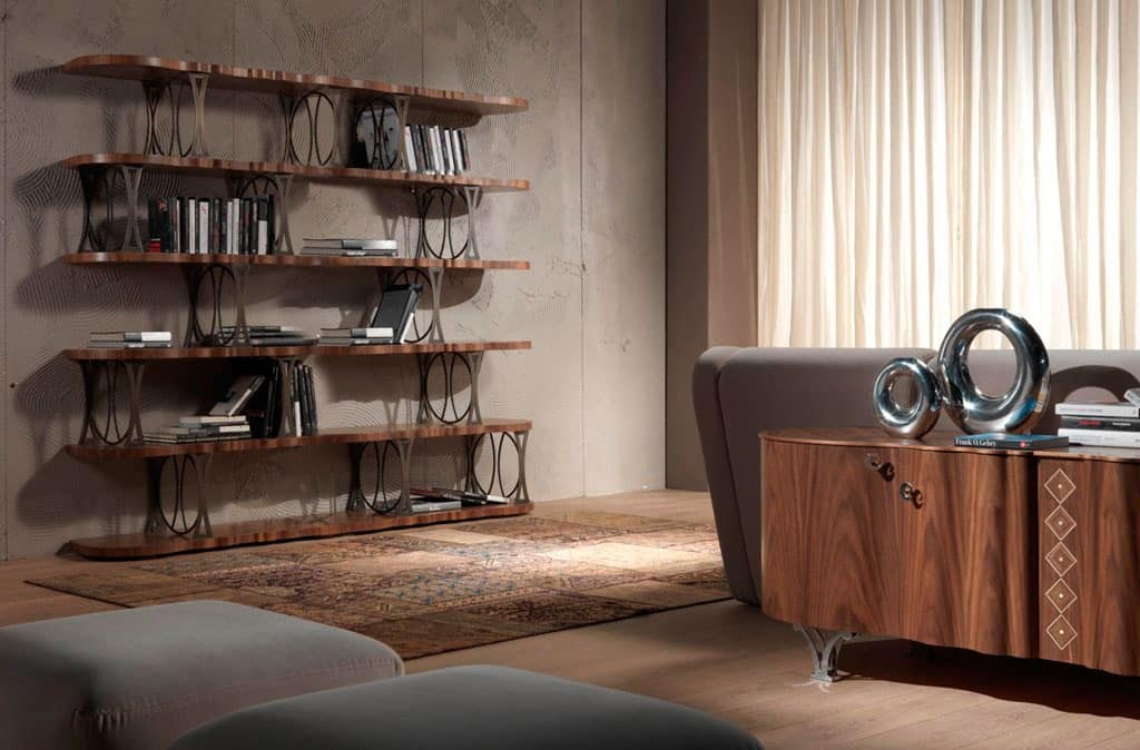 LB32 Mistral bookcase, Bookcase veneered walnut, in a modern style
