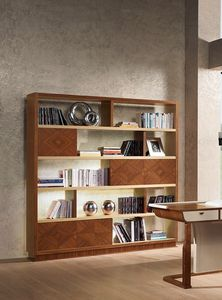 LB39 Desyo bookcase, Bookcase in inlaid walnut and oak, for classics living rooms