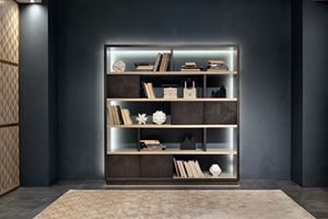 LB47 Desyo bookcase, Bookcase with wooden shelves