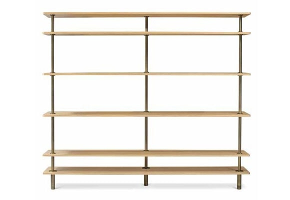 Legs Bookcase, Crystal and brass bookcase