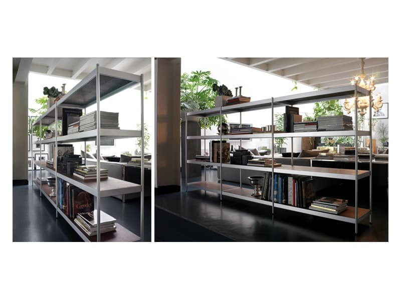 Light, Modular bookcase with shelves made of lacquered steel