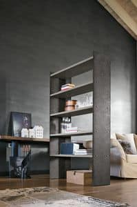 LINEAR 90-120 PP119-PP120, Bookcase in painted metal with laminate shelves