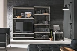 LINEAR 180-210 PP117-PP121, Modern bookcase in laminate and decorated metal