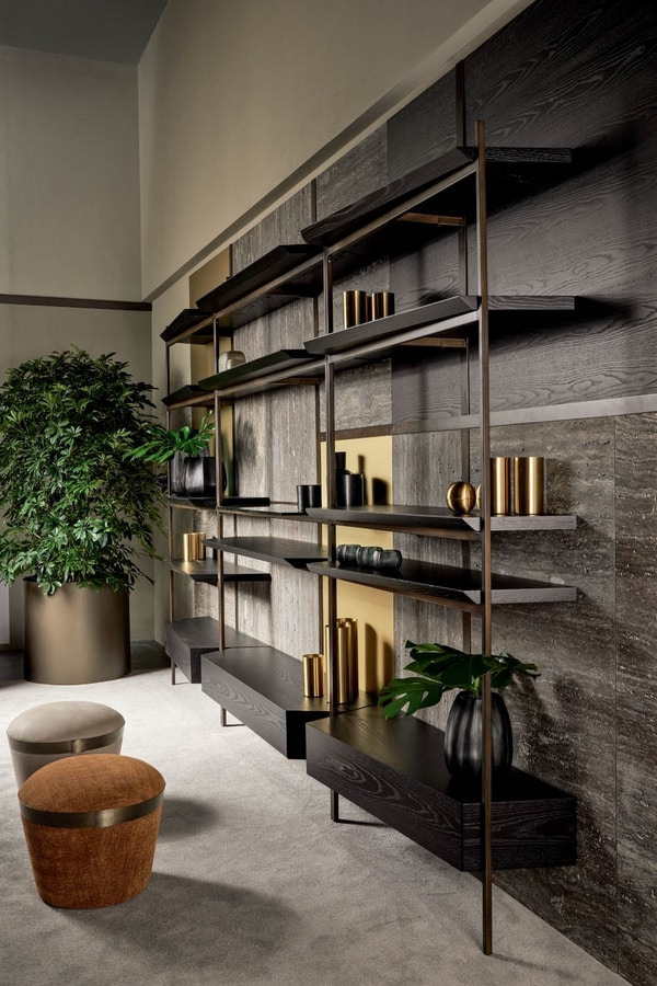 Macao, Wall bookcase in iron, marble or wood