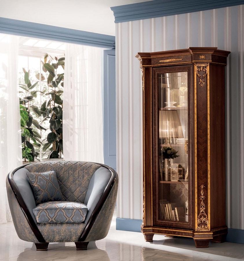 Modigliani 1 door bookcase, Classic bookcase for living room
