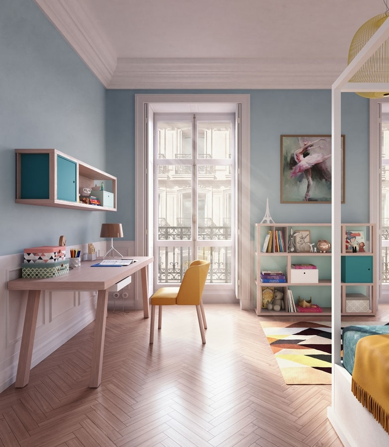 Modula quattro comp.02, Low bookcase, customizable