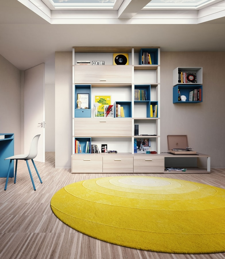 Modula quattro comp.03, Modular bookcase with doors and open elements