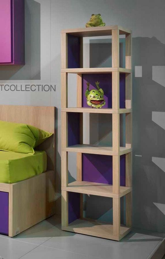 Modula quattro comp.04, Freestanding bookcase in wood