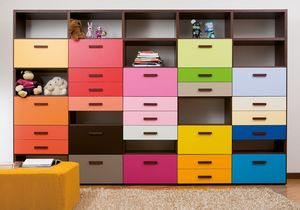 Modulari comp.03, Customizable bookcase with colored drawers