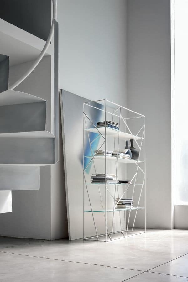 NAVIGLIO, Bookcase in lacquered rod and glass, for modern office