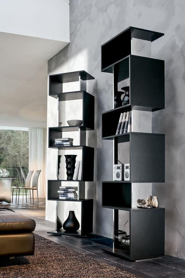 OSUNA, Revolving bookcase in lacquered wood, mirror finish
