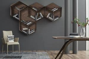 PANGEA, Modular bookcase, composed of cubes in wood and metal