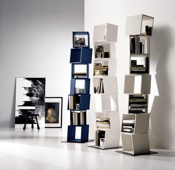 RUBIK comp.01, Library composed of revolving moduls, for modern houses