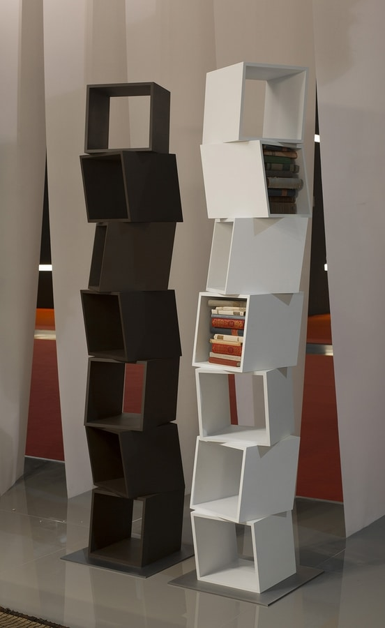 RUBIK comp.02, Modern library for the house, made up of cubes