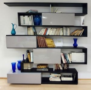 Serpentina bookcase, Bookcase with lacquered doors