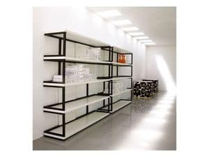 Sipario, Bookcase in solid wood, lacquered shelves