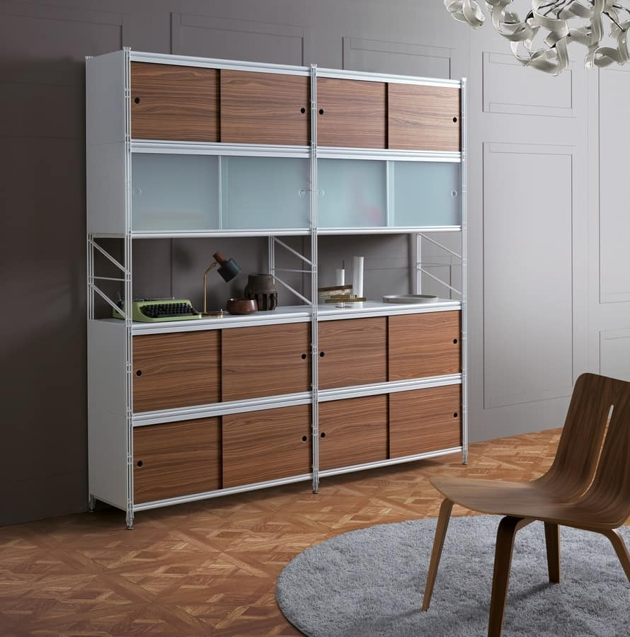 Socrate bookcase, Metal modular bookcase, for office and modern houses