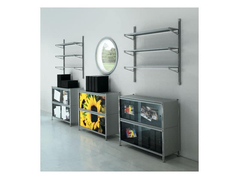 Socrate customizable panels, Modular customizable shelving in methacrylate