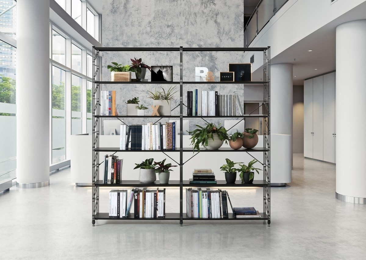 Metal bookcase with tempered glass shelves | IDFdesign