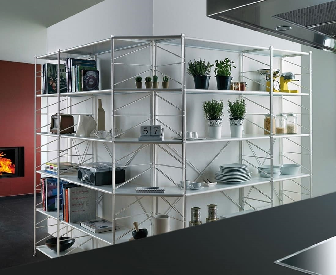 Socrate, Metal bookcase with tempered glass shelves