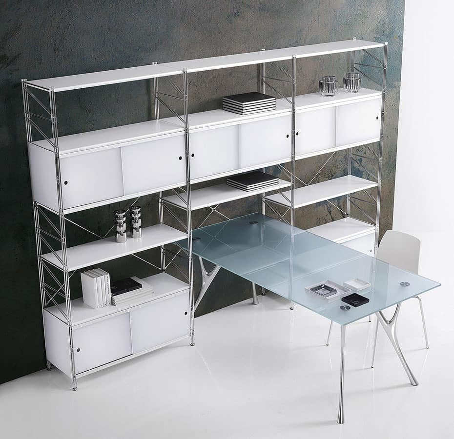 Socrate closing, Modular bookcase for home and office