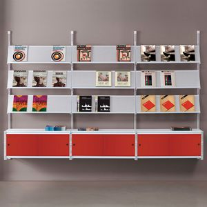 Socrate wall 2, Wall bookcase with glass shelves, various accessories