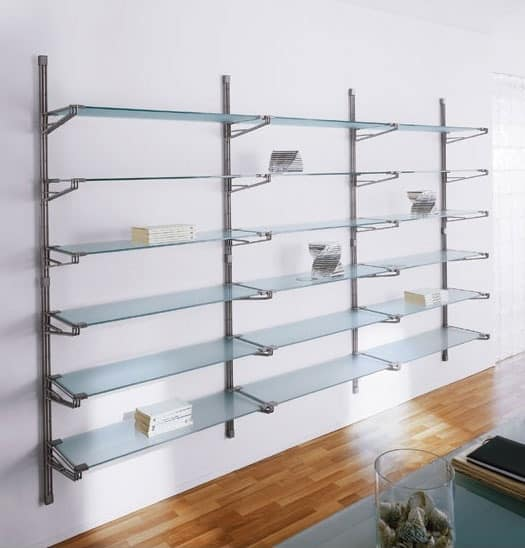 Socrate wall, Modular wall Bookcase, glass shelves, for office and home