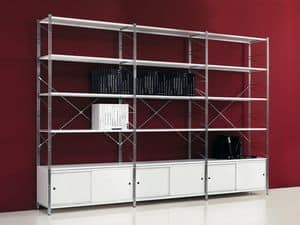Socrate white, Library in metal painted shelves