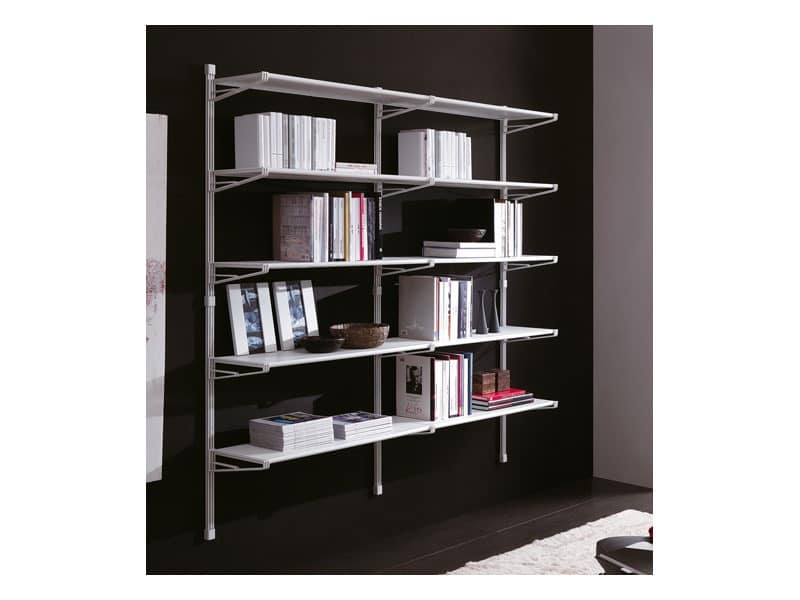 Socrate white wall, Shelves painted with an opaque and scratch-proof finish
