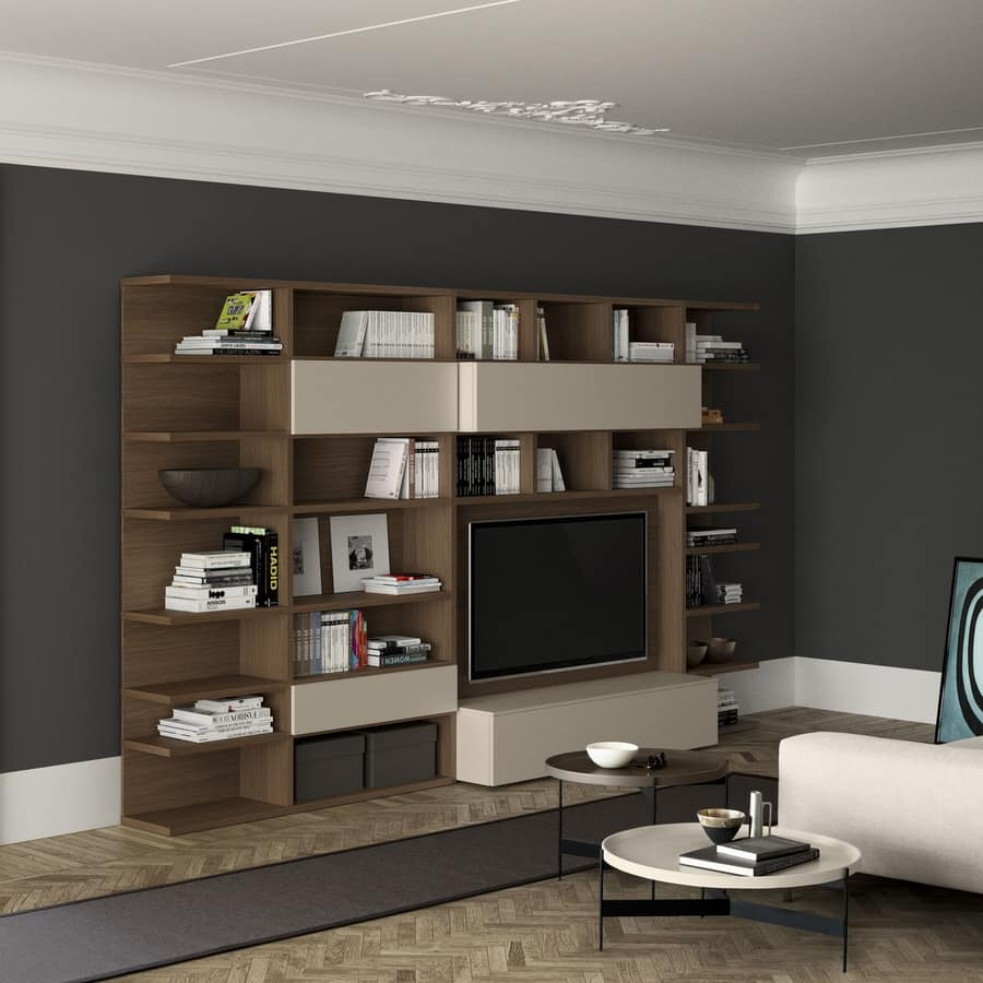Spazioteca SP011, Modern wooden bookcase with tv space