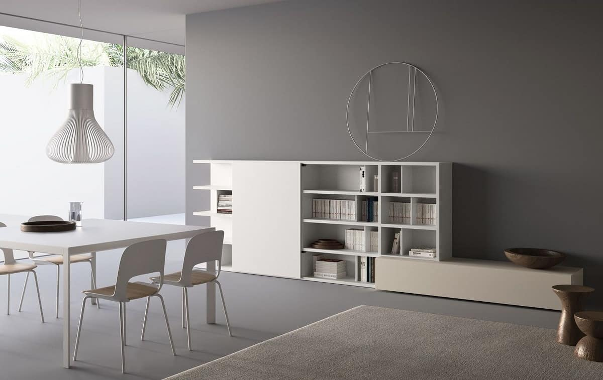 Spazioteca SP016, Modular bookcase with shelves and box containers