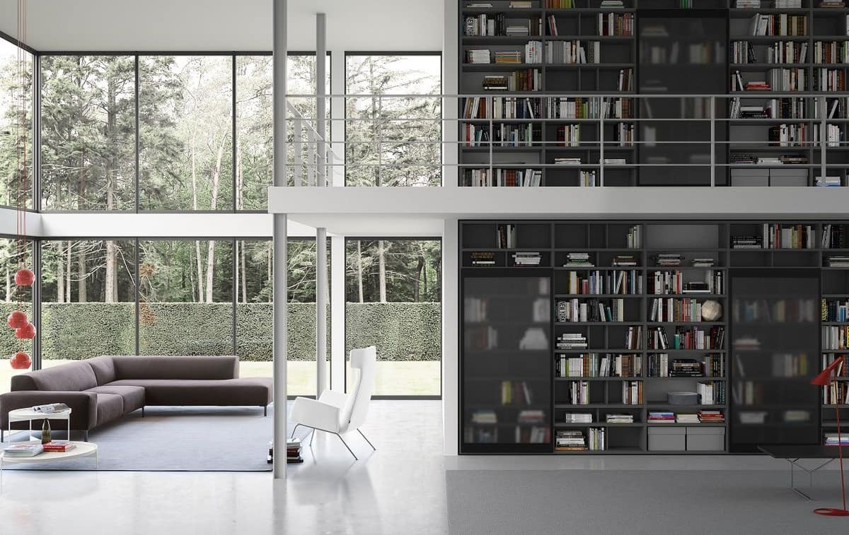 Spazioteca SP018, Modular bookcase, in modern style, for office
