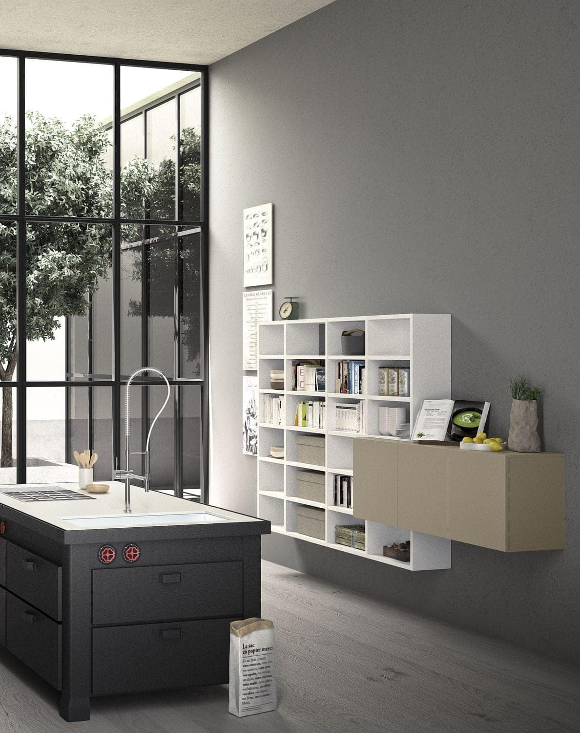 Spazioteca SP019, Modular bookcase in wood, made to measure, for office