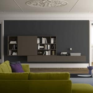 Spazioteca SP024, Modern wall bookcase in wood, in contemporary style