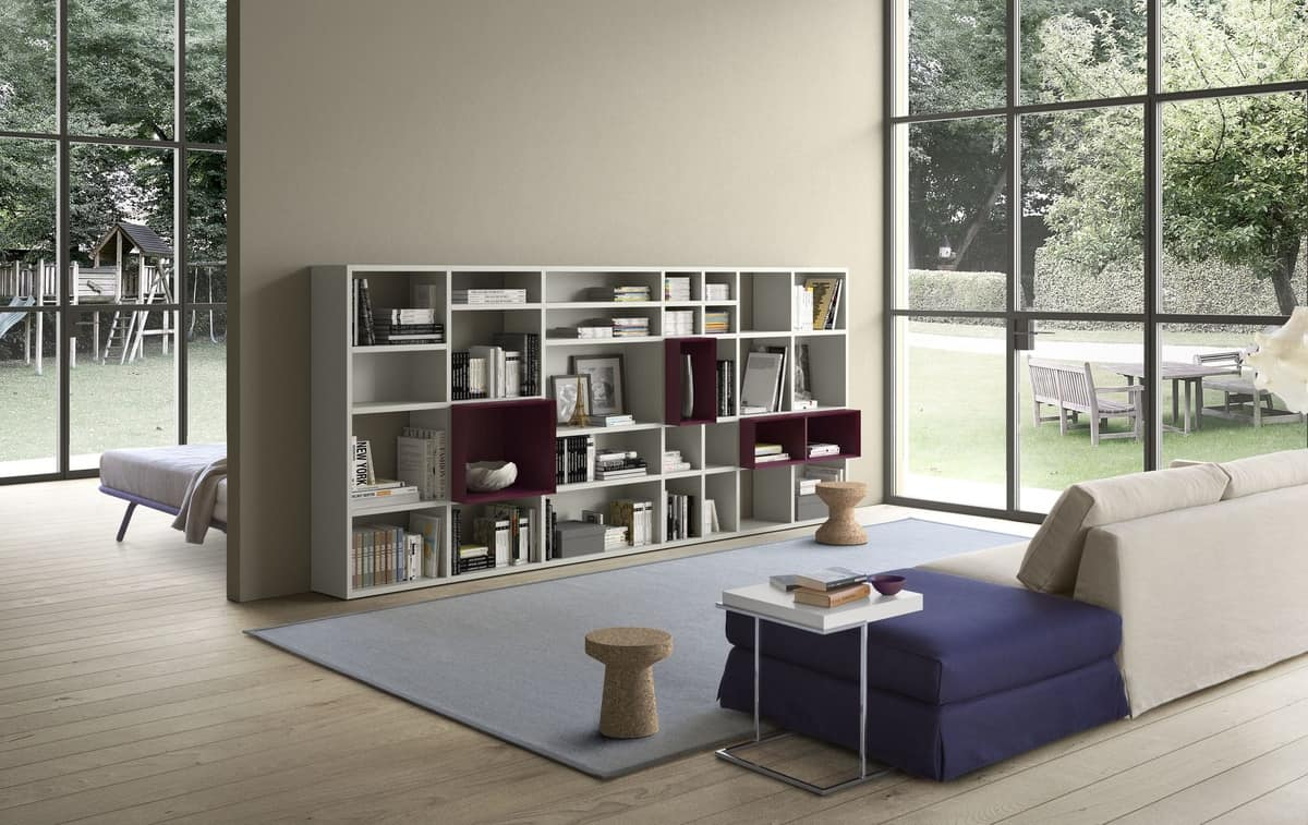 Spazioteca SP027, Modular boookcase in wood, with various sizes of box