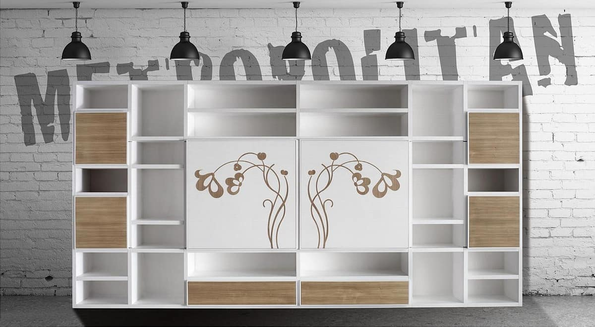 ST 60, Contemporary bookcase with sliding doors and floral decorations