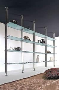 Tangram, Bookcase in lacquered metal, with glass shelves