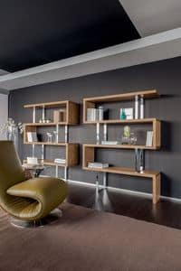 TRAFALGAR, Wooden bookcase and chromed metal supports