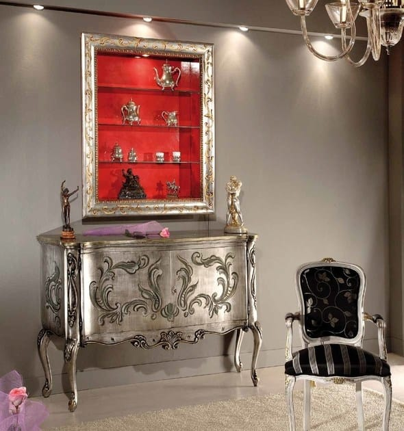 Virgilio bookcase, Suspended bookcase, with decorated frame