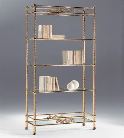 VIVALDI 1082, Brass bookcase with glass shelves, for living rooms