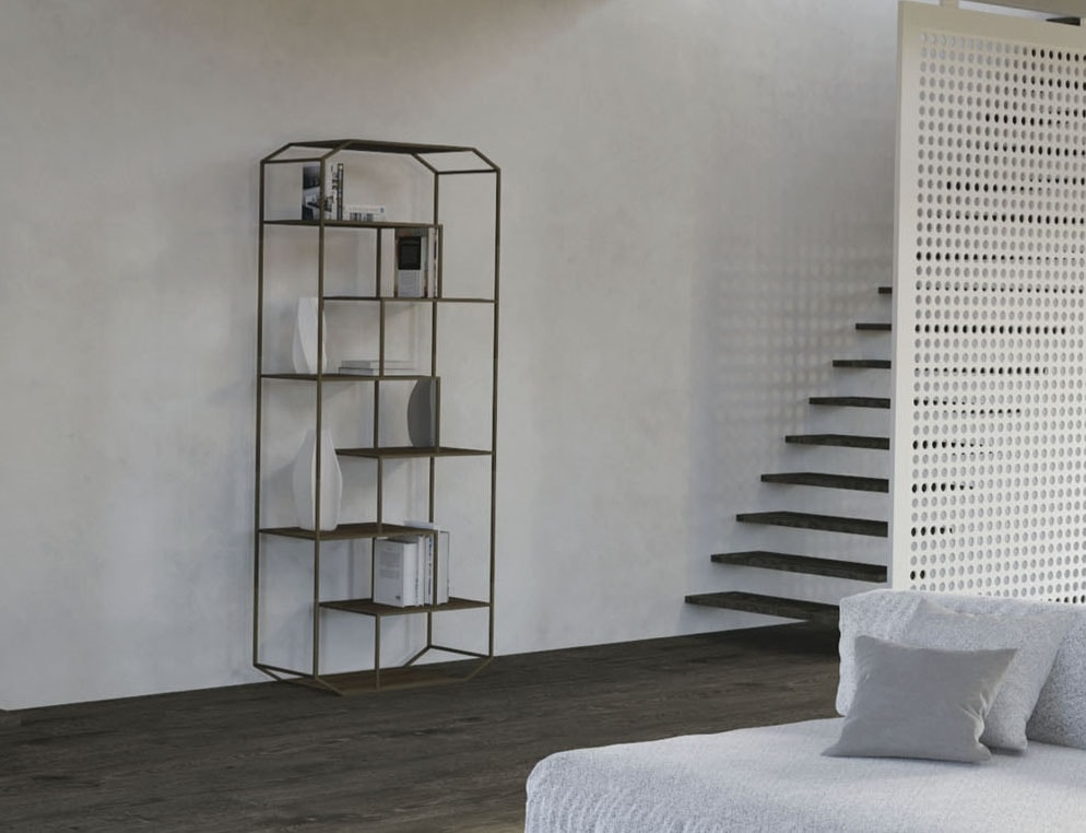 Yin, Iron bookcase with wooden shelves