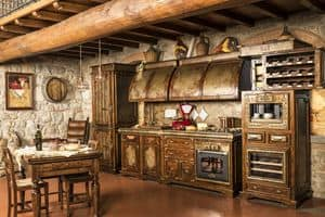 Art. 623, Rustic kitchen, finished in aged Corten