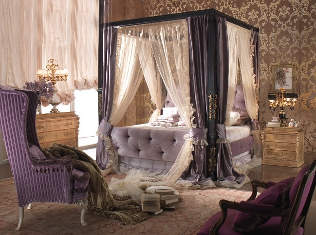 Esimia bed, Canopy bed, quilted upholstery