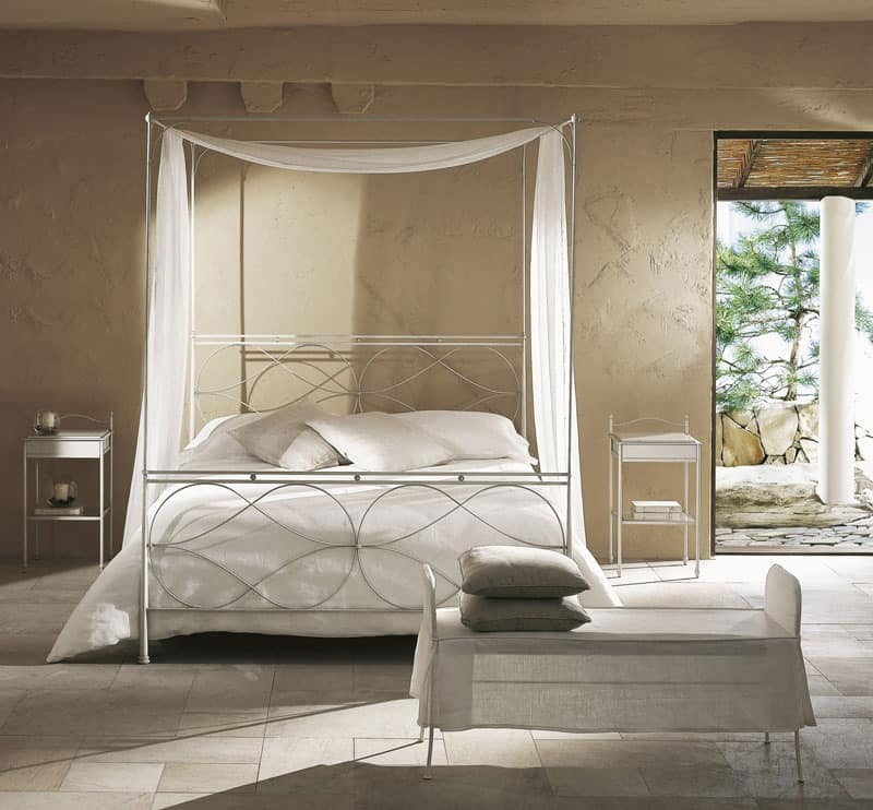 Raphael bed, Single modern canopy bed with hand-polished welds