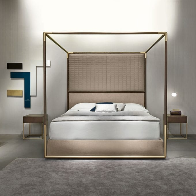 Container Double Four Poster Bed With Padded Headboard