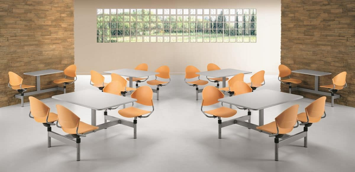 DELFI D800, Monobloc table with four swivel chairs for canteens